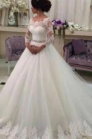long sleeve ball gown lace tulle wedding dress ivory bridal dress
