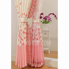 strawberry fruit printed pattern polyester pink curtains for kids room
