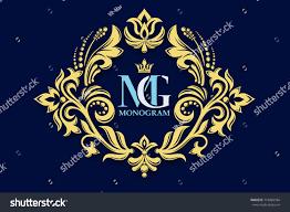 Create Monogram Initials Vector Decorative Frame Monogram Initials Jewelry Stock Vector