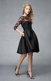 3 4 sleeve bridesmaid dresses 3 4 sleeves a line bateau black bridesmaid dress with lace