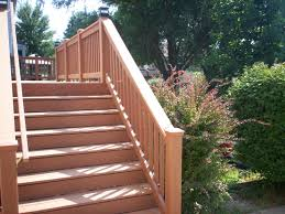flared deck stairs st louis decks screened porches pergolas