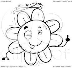 clipart of a cartoon black and white doodled drunk flower