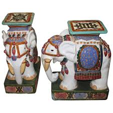 pair of vintage elephant garden stools stands seats hollywood