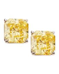 cubic zirconia earrings fantasia by deserio canary cubic zirconia stud earrings