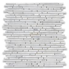 carrara white bullet strip heavy rain mosaic tile polished