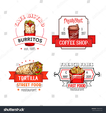 fast food icons burrito snack tortilla stock vector 709567219