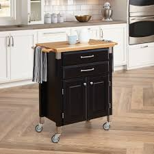 Kitchen Towel Bars Ideas Furniture Black Wooden Butcher Block Cart With 2 Drawers And