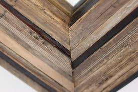 harriot multi reclaimed wood layered mirror frame by grain