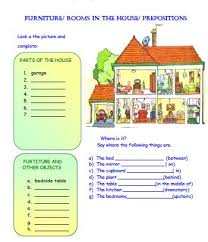 rooms in the house in the house and prepositions worksheet