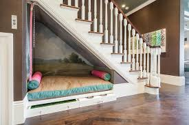 window bench for dog under the stairs dog bed contemporary entrance foyer