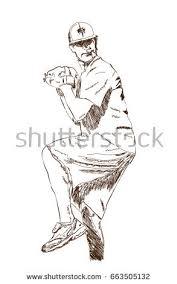 sketch baseball player playing game vector stock vector 663505132