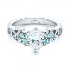 topaz engagement ring custom diamond and blue topaz engagement ring celtic topaz