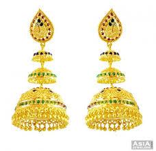 big jhumka gold earrings 22k jhumka earrings ajer57619 22k gold fancy earrings with