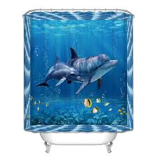 Shower Curtains With Fish Theme 12 Hook Waterproof Ocean Fish Theme Bathroom Shower Curtain