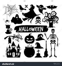 halloween black silhouettes happy halloween vector stock vector