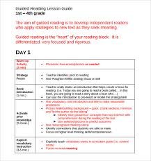 second grade lesson plan template 28 templates guided reading