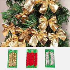 bags of christmas bows 12pcs bag gold silver christmas bow flannel tree hanging