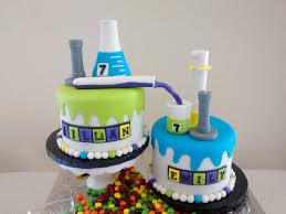 mad science cake chemistry bunsen burner erlenmeyer flask beaker