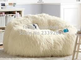White Fluffy Chair Furry Bean Bags Foter