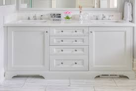 Shaker Bathroom Vanity Cabinets by White Shaker Vanity Cabinets With Satin Nickel Hardware
