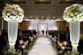 wedding arches chicago wedding with classic black white color palette in