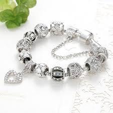 diy beaded charm bracelet images Eleshe fashion silver heart charms bracelet bangle for women diy jpg