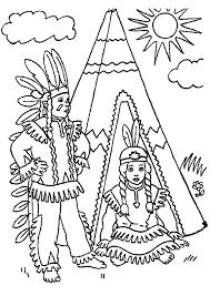dessin de deux indiens entrain de discuter devant leur tipi