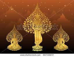 buddha bodhi tree gold color stock vector 667156672