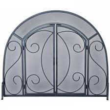 excellent arched wrought iron fireplace screen design with single