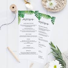 editable menu template tropical printable wedding menu template kraft menu cards menu