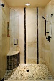 corner shower in small space under brown beadboard ceiling interior exquisite shower in small space with corner bench and pebble stone floor appealing
