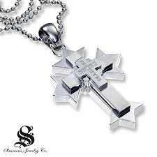 kay gothic cross pendant 1 10 ct tw round cut stainless steel