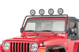 jeep wrangler tj light bar rugged ridge 11232 01 full frame light bar in black powdercoat for