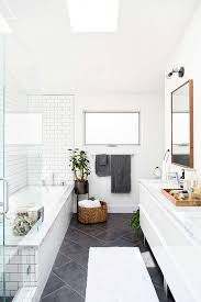 Modern White Bathroom Ideas This Large Charcoal Gray Diagonal Tiles On The Floor Paired