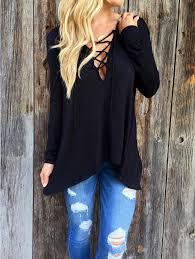 criss cross blouse black v neck criss cross hooded t shirt from