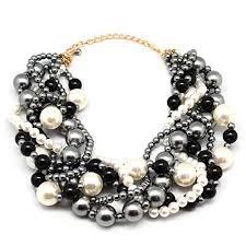 big pearl necklace wedding images Melime women 39 s pearl necklace twisty chunky bib pearl jpg