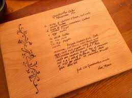 recipe engraved cutting board grandmothers handwritten recipe cutting board family recipe