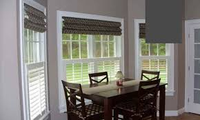 dinning dining room windows white roman blinds dining room window