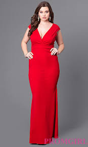 long v neck cheap plus size prom dress promgirl
