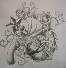 grey ink pirate skull with gun and anchor tattoo design by cut