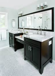 Large Bathroom Mirror by Bathroom Black Cabinet With White Marble Countertop With Vanity