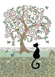 black cat card birdy tree bug cards at tattypuss