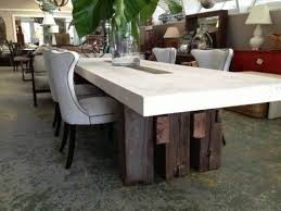 Suma Outdoor Cast Stone Dining Table With Triple Plank Legs - Stone kitchen table