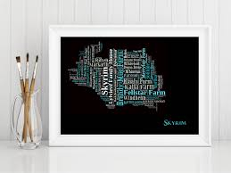 art print pop art skyrim map modern style country map