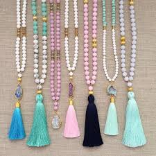 bead necklace with tassel images A long beaded tassel necklace pinteres jpg