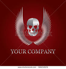 vector silver tattoo logo skull wings stock vector 588218576