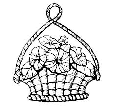dibujo cesta flores colorear dibujos net