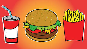 draw color paint burger soft drink and french fries coloring page