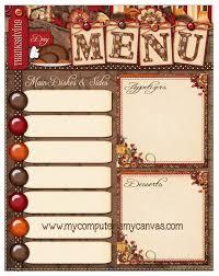 freebie thanksgiving day menu printable scrap booking