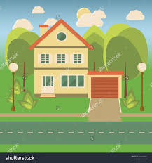landscape with a cottage garage trees bushes street lights save to